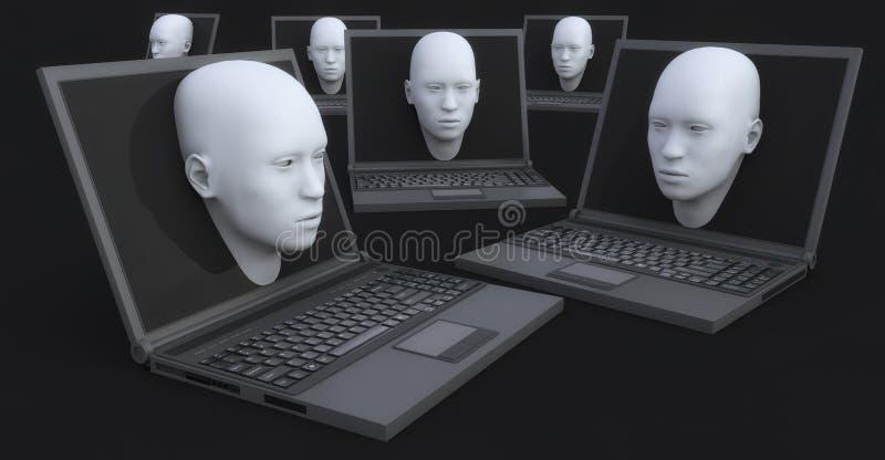 Ordenador portátil y cabeza 3d que salen de la pantalla ilustración del vector