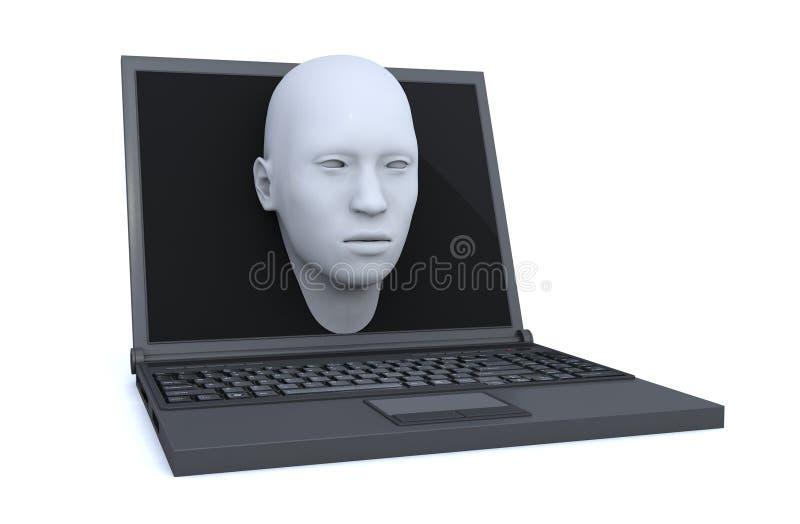 Ordenador portátil y cabeza 3d que salen de la pantalla stock de ilustración