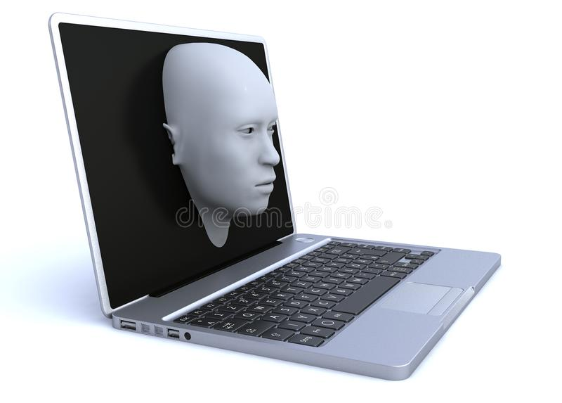 Ordenador portátil y cabeza 3d que salen de la pantalla libre illustration