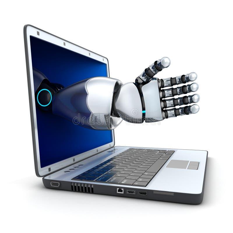 Ordenador portátil y el brazo del robot stock de ilustración