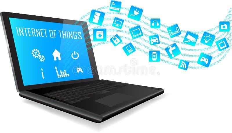 Ordenador portátil y Internet del concepto de las cosas stock de ilustración