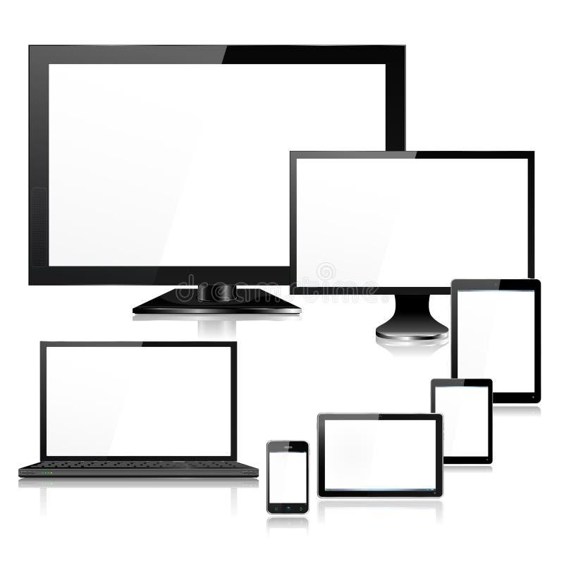 Ordenador portátil y pantallas realistas de los dispositivos TV del ordenador móvil ilustración del vector
