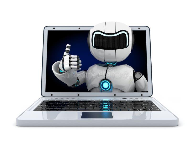 Ordenador portátil y robot ilustración del vector