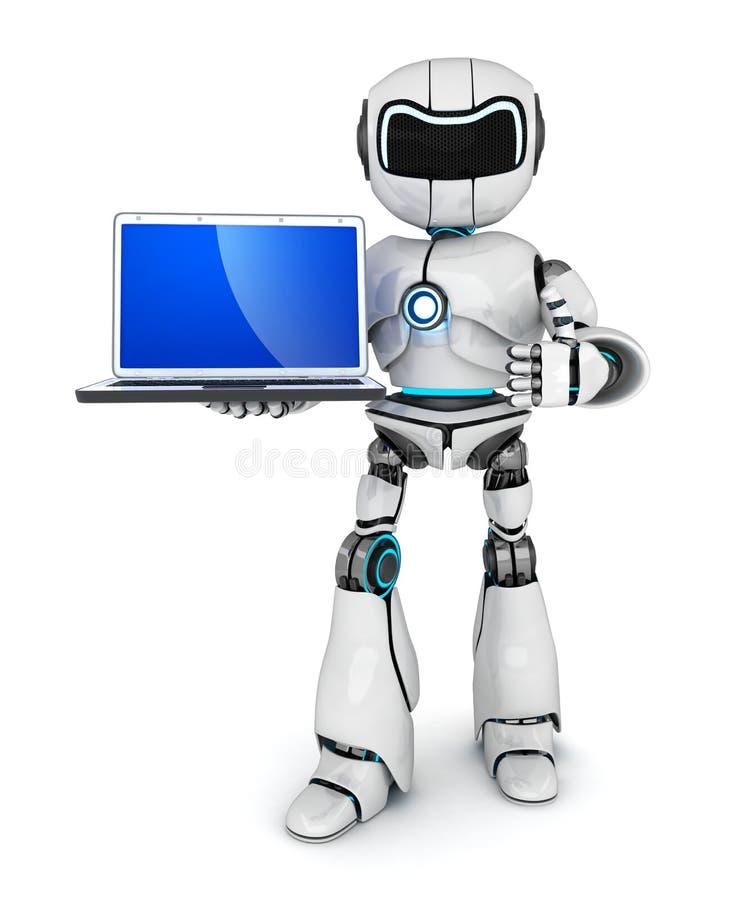 Ordenador portátil y robot stock de ilustración