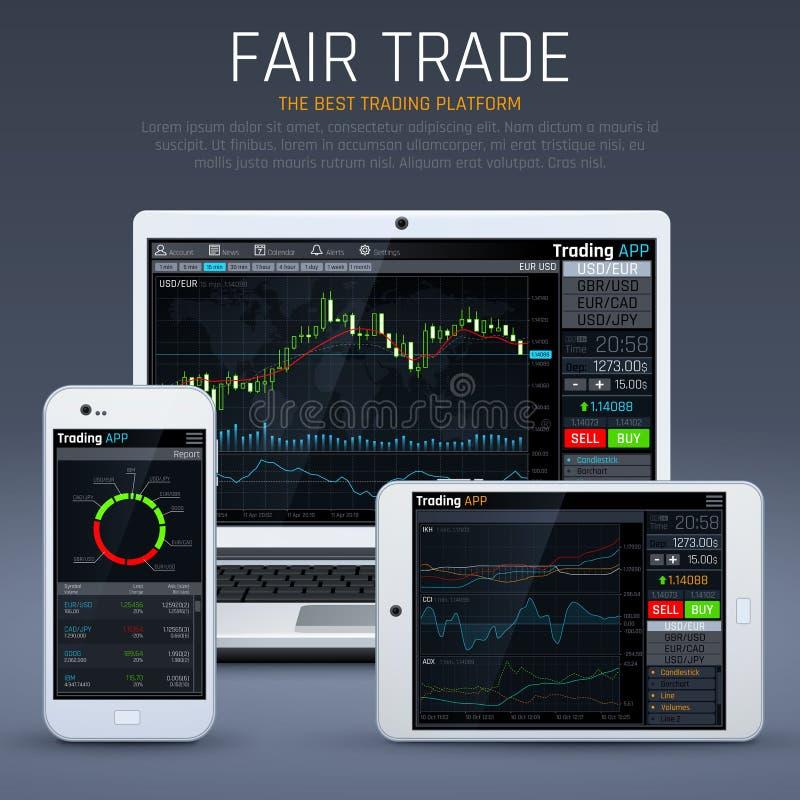 Ordenador portátil y smartphone con el mercado empresarial app Cartas y concepto financieros del vector de la moneda del intercam stock de ilustración