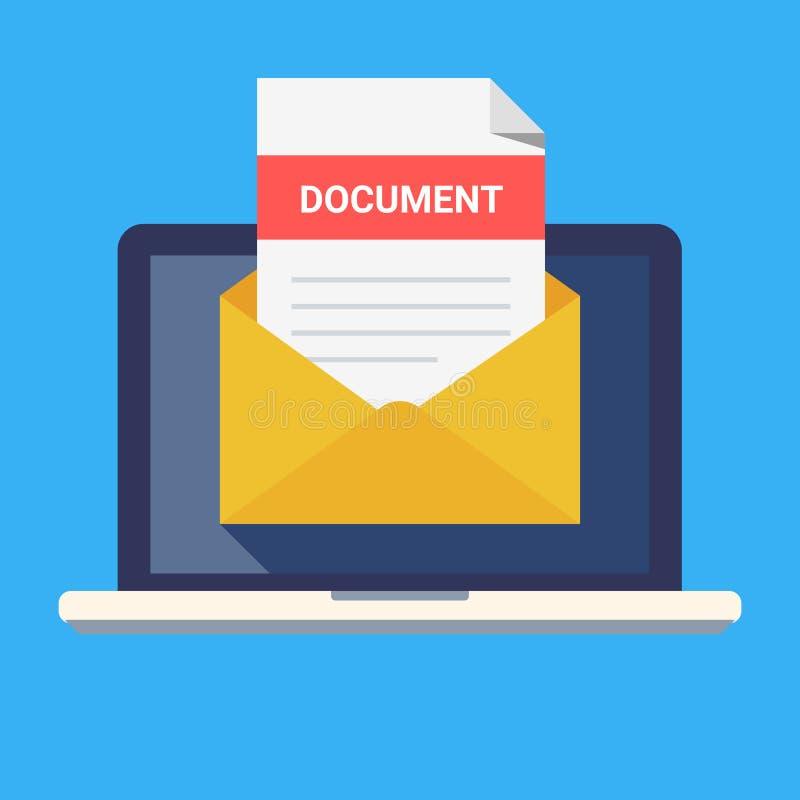 Ordenador portátil y sobre con el documento Correo electrónico con el jefe del documento, línea sujeta Ejemplo plano moderno del  stock de ilustración