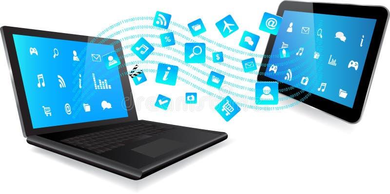 Ordenador portátil y tableta con el uso libre illustration