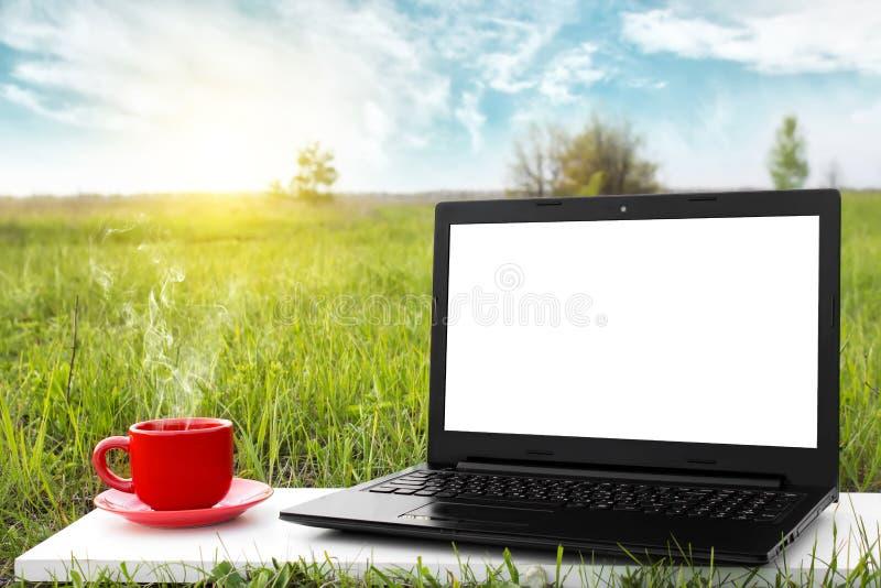 Ordenador portátil y taza de café caliente en la naturaleza pintoresca del fondo imagen de archivo