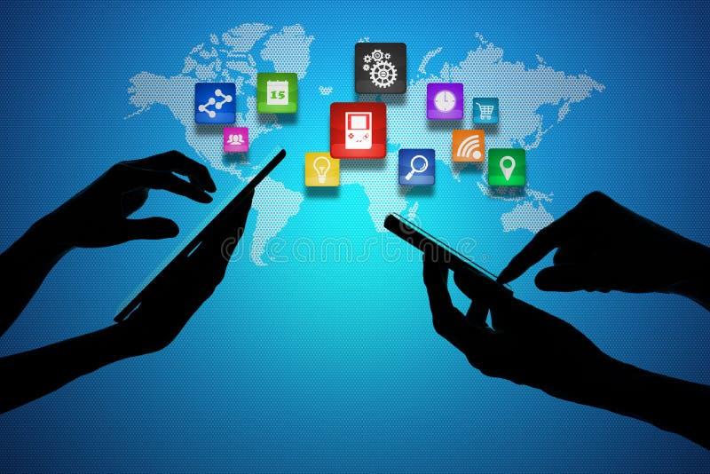 Ordenador portátil y teléfono de Smart alrededor del globo del mundo stock de ilustración