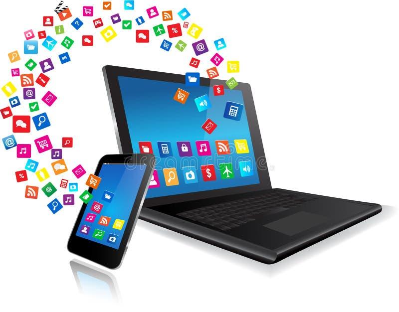 Ordenador portátil y teléfono de Smart con los apps stock de ilustración