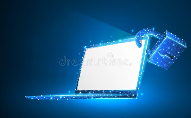 Ordenador port?til, cerradura, s?mbolo del cuaderno Pantalla blanca Protecci?n de los dispositivos, contrase?a, concepto de la ai libre illustration