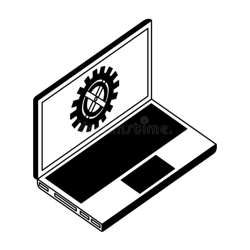 Ordenador port?til con la m?quina del engranaje en pantalla libre illustration