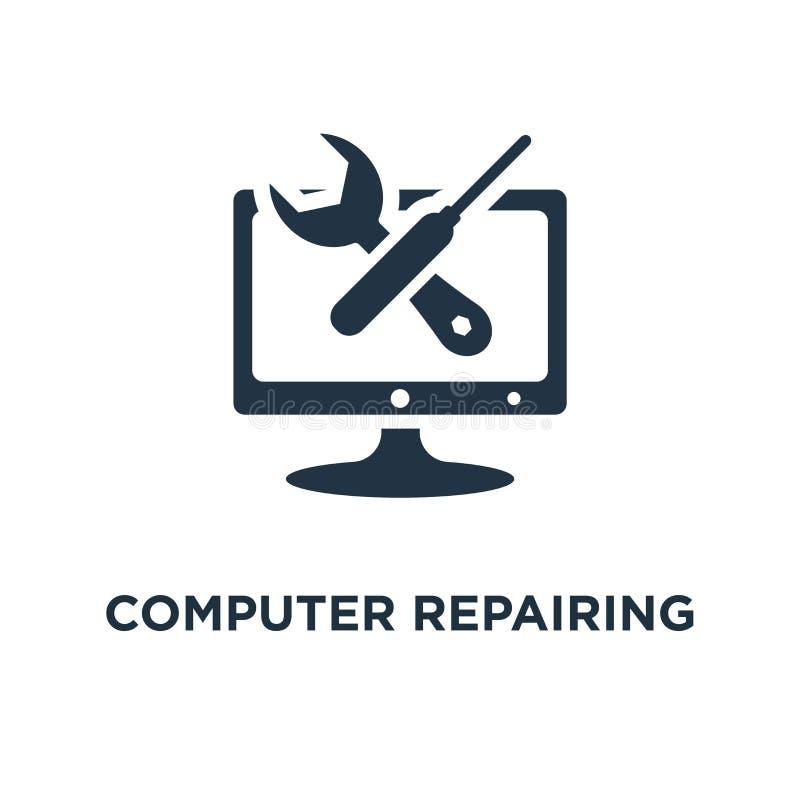 ordenador que repara el icono él apoyan y el diseño del símbolo del concepto de los servicios, desarrollo de programas, la admini ilustración del vector