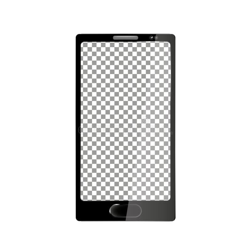 Ordenador realista con la pantalla transparente del papel pintado aislada Sistema de grupos y de capas separados de la maqueta de stock de ilustración