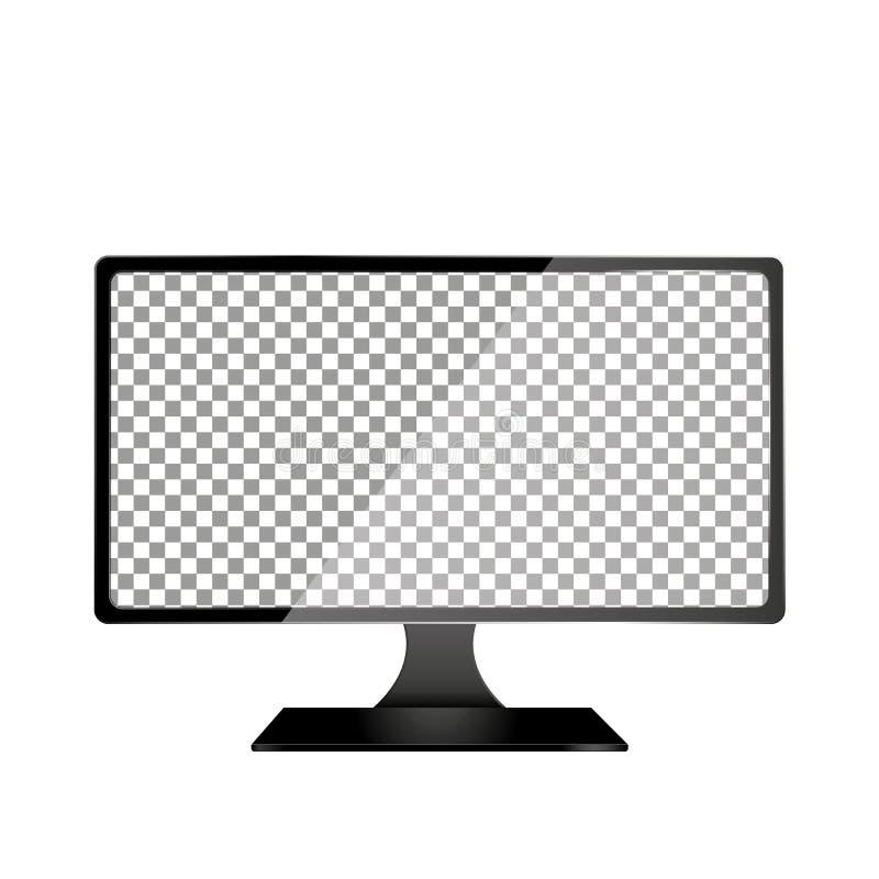 Ordenador realista con la pantalla transparente del papel pintado aislada Sistema de grupos y de capas separados de la maqueta de libre illustration