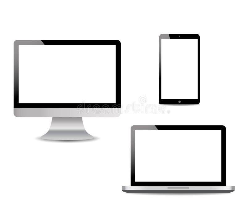 Ordenador realista, ordenador portátil, tableta de tacto en estilo de la maqueta Dispositivos modernos en fondo aislado Vector ep stock de ilustración