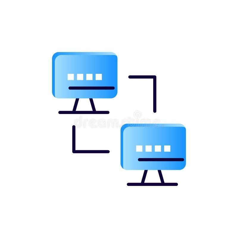 Ordenador, red, computando, icono plano del color de los ordenadores Plantilla de la bandera del icono del vector ilustración del vector