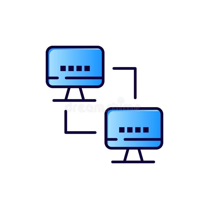 Ordenador, red, computando, icono plano del color de los ordenadores Plantilla de la bandera del icono del vector stock de ilustración