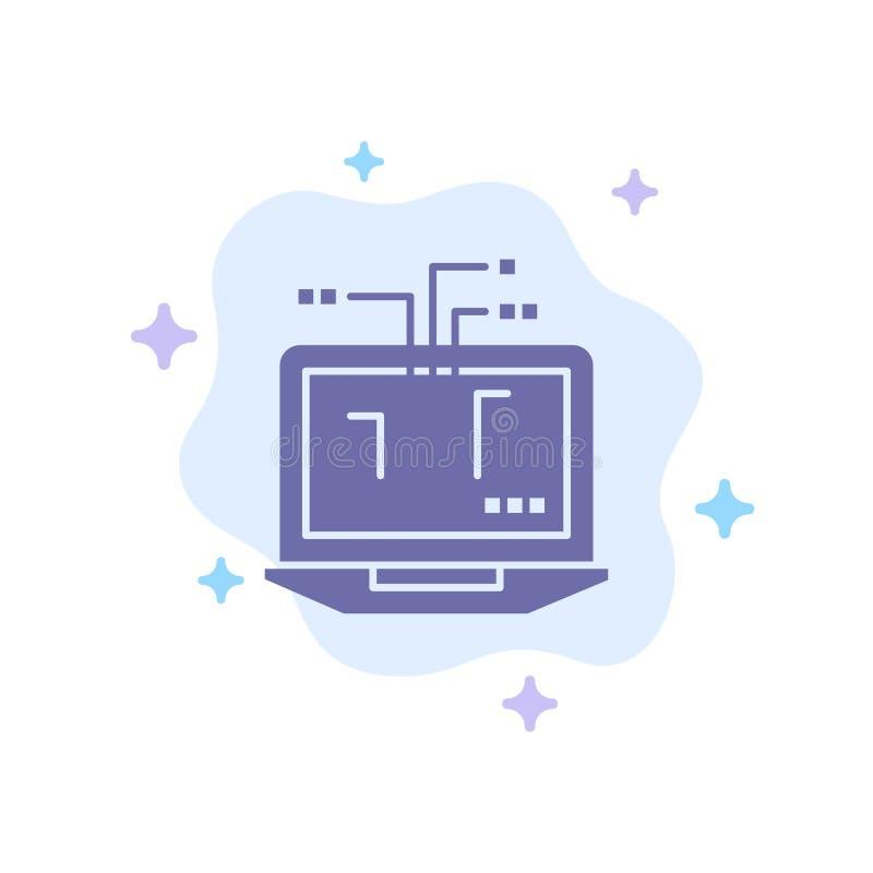 Ordenador, red, ordenador portátil, icono azul del hardware en fondo abstracto de la nube stock de ilustración