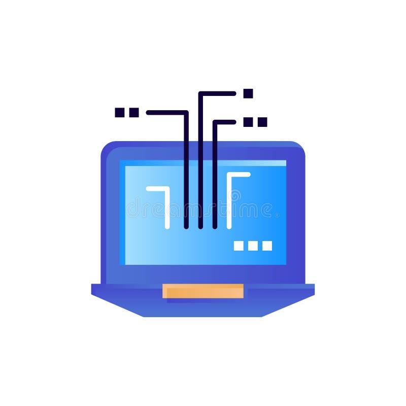 Ordenador, red, ordenador portátil, icono plano del color del hardware Plantilla de la bandera del icono del vector stock de ilustración