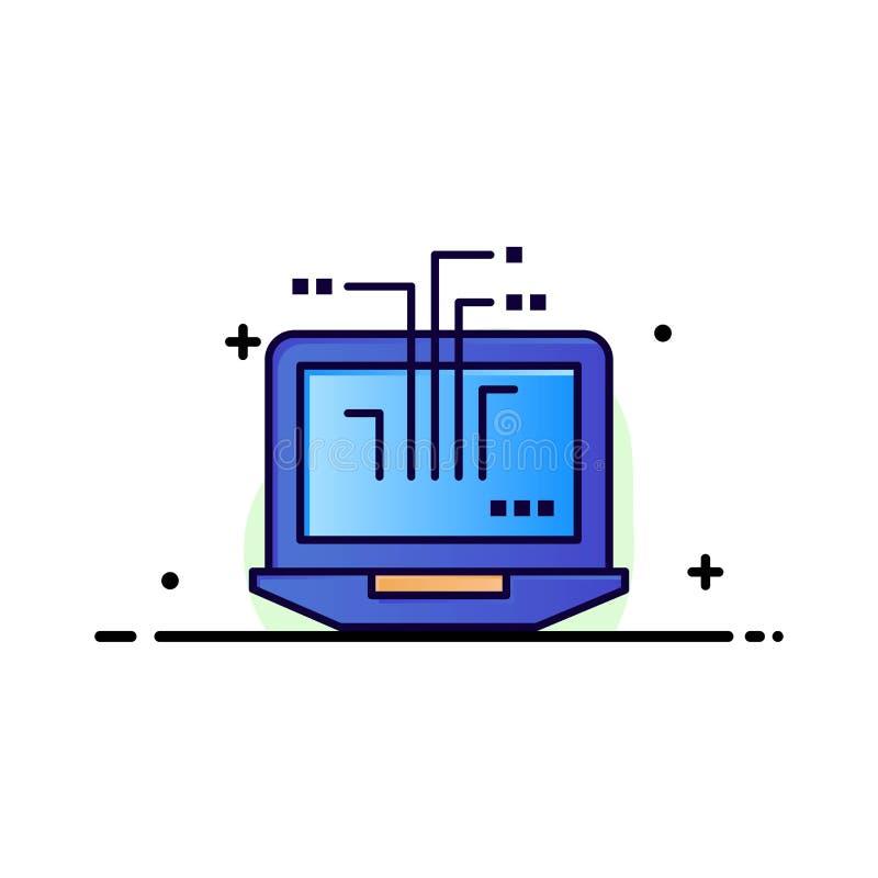 Ordenador, red, ordenador portátil, negocio Logo Template del hardware color plano ilustración del vector