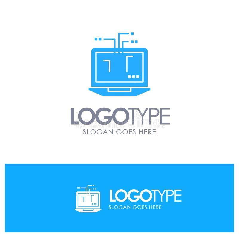 Ordenador, red, ordenador portátil, vector azul del logotipo del hardware ilustración del vector