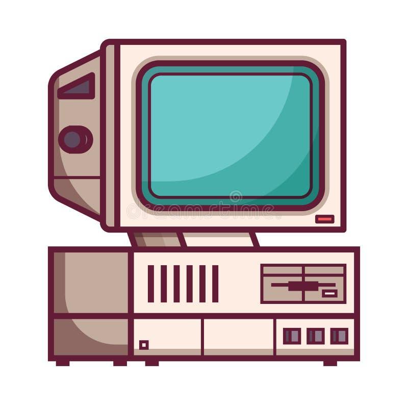Ordenador retro de 90s ilustración del vector