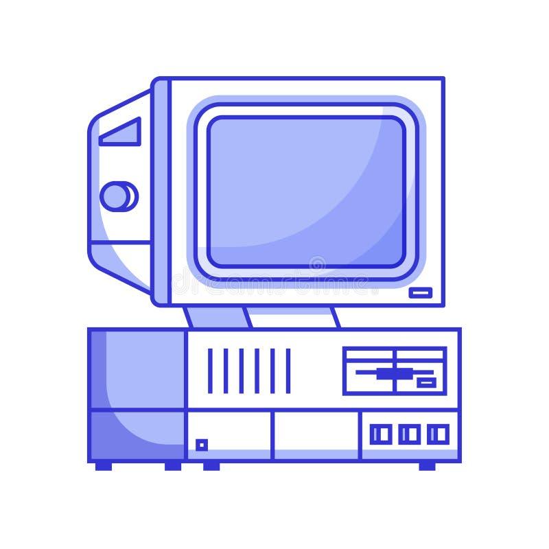 Ordenador retro de 90s stock de ilustración