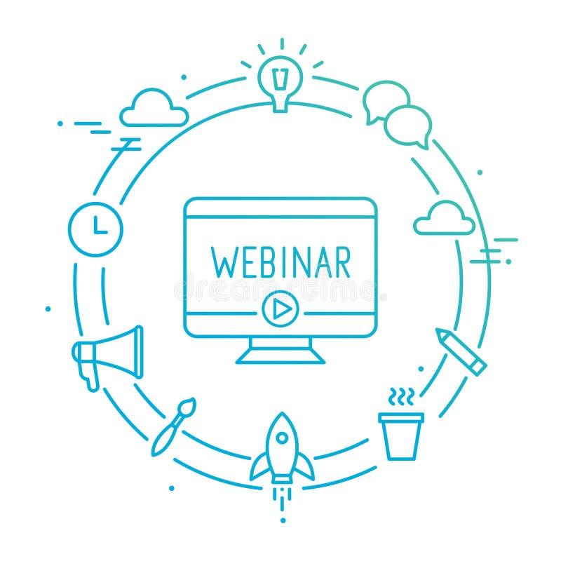 Ordenador rodeado por los iconos del Social del esquema Webinar, Webcast, Livestream, ejemplo en línea del evento ilustración del vector