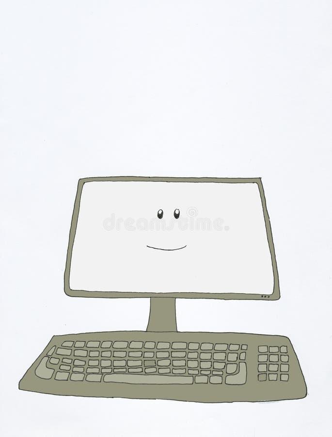 Ordenador sonriente stock de ilustración