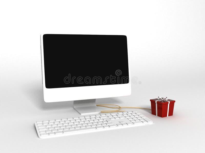 Ordenador tridimensional y regalo envuelto libre illustration
