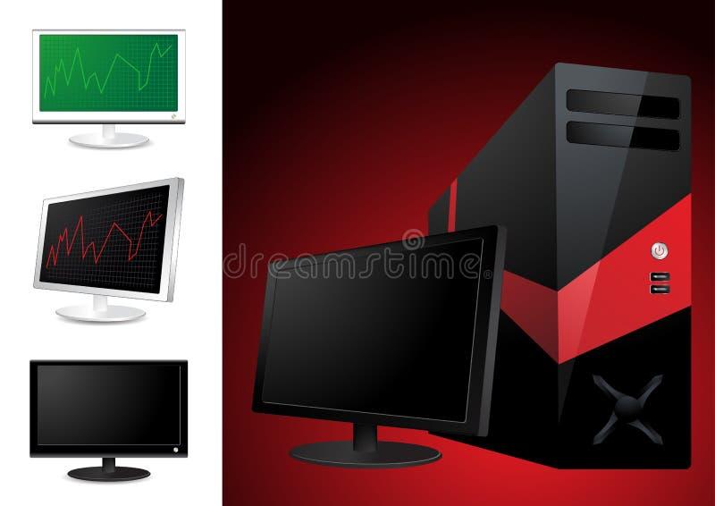 Ordenador y monitor del lcd stock de ilustración