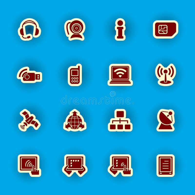 Ordenador y sistema del icono de la comunicación ilustración del vector