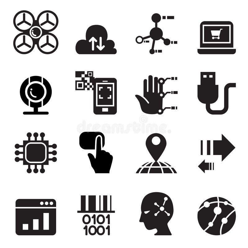 Ordenador y sistema electrónico del icono de la tecnología libre illustration