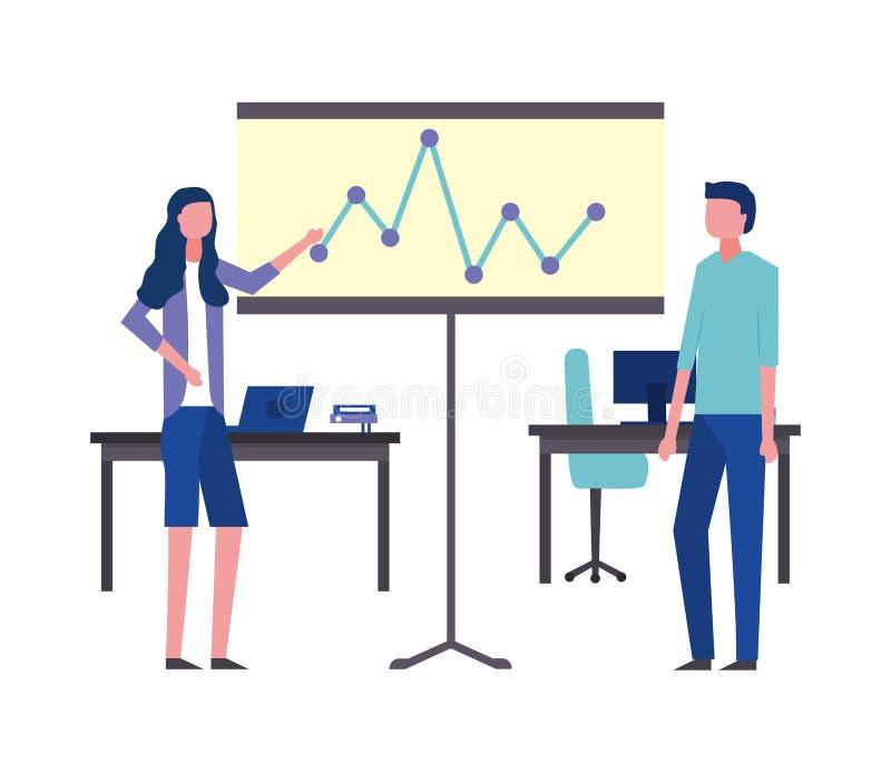 Ordenadores de los escritorios del tablero de la presentación de la oficina del hombre y de la mujer de negocios libre illustration