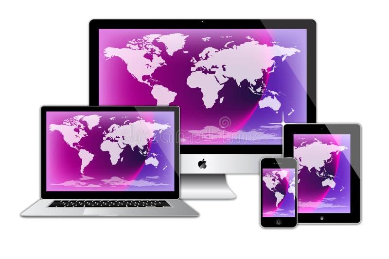 Ordenadores del macbook del ipad del iphone del imac de Apple stock de ilustración
