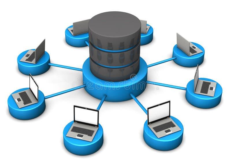 Ordenadores portátiles de la base de datos stock de ilustración
