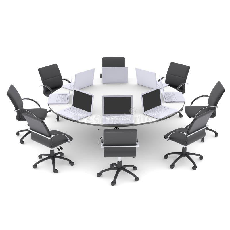 Ordenadores Portátiles En La Mesa Redonda Y Las Sillas De La Oficina ...