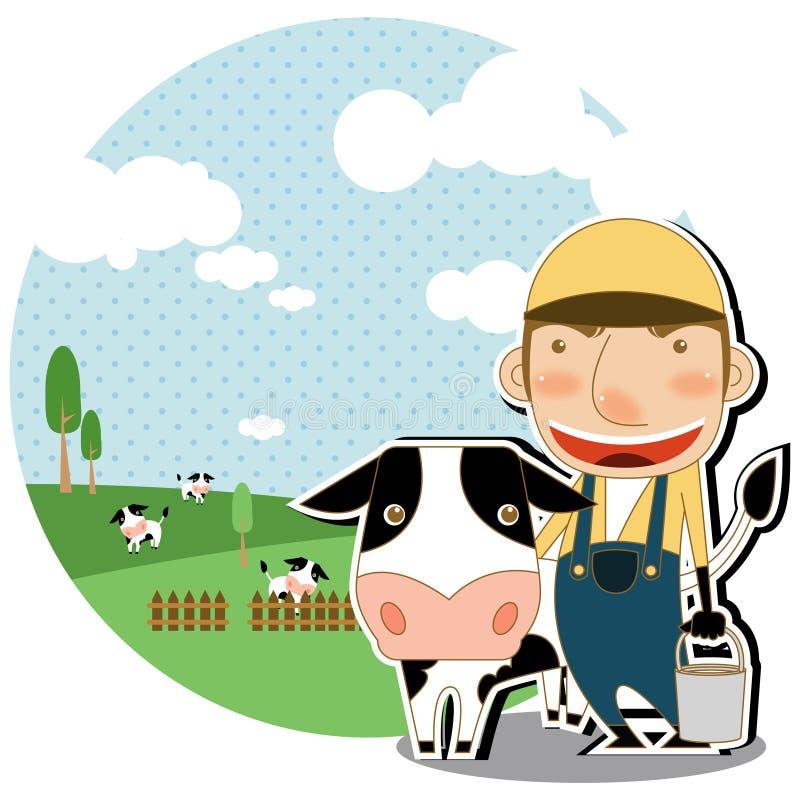 Ordenha a vaca ilustração do vetor