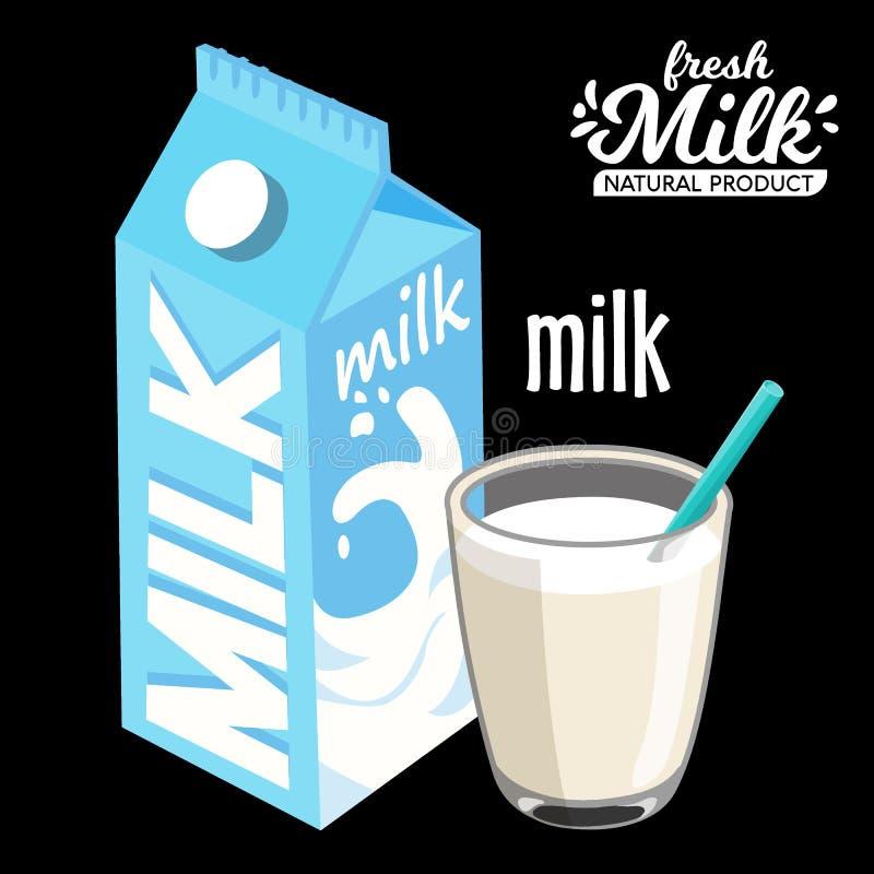 Ordenhe o bloco e o vidro do bloco do milkmilk e o vidro do estilo liso do ícone do leite Isolado no fundo preto Vetor ilustração do vetor