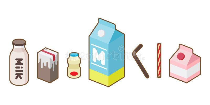 Ordenhe o pacote da ilustração do vetor do ícone da garrafa do suco do iogurte ilustração stock