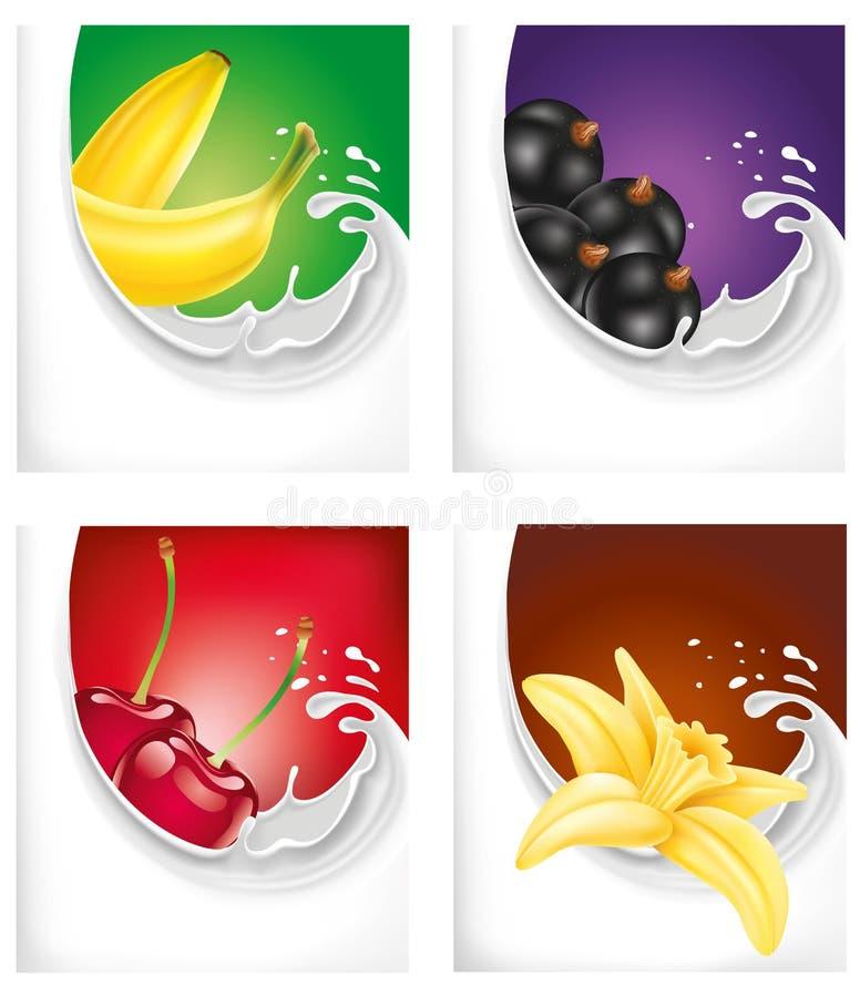 Ordenhe o respingo com banana, corinto preto, cereja, flor da baunilha ilustração stock