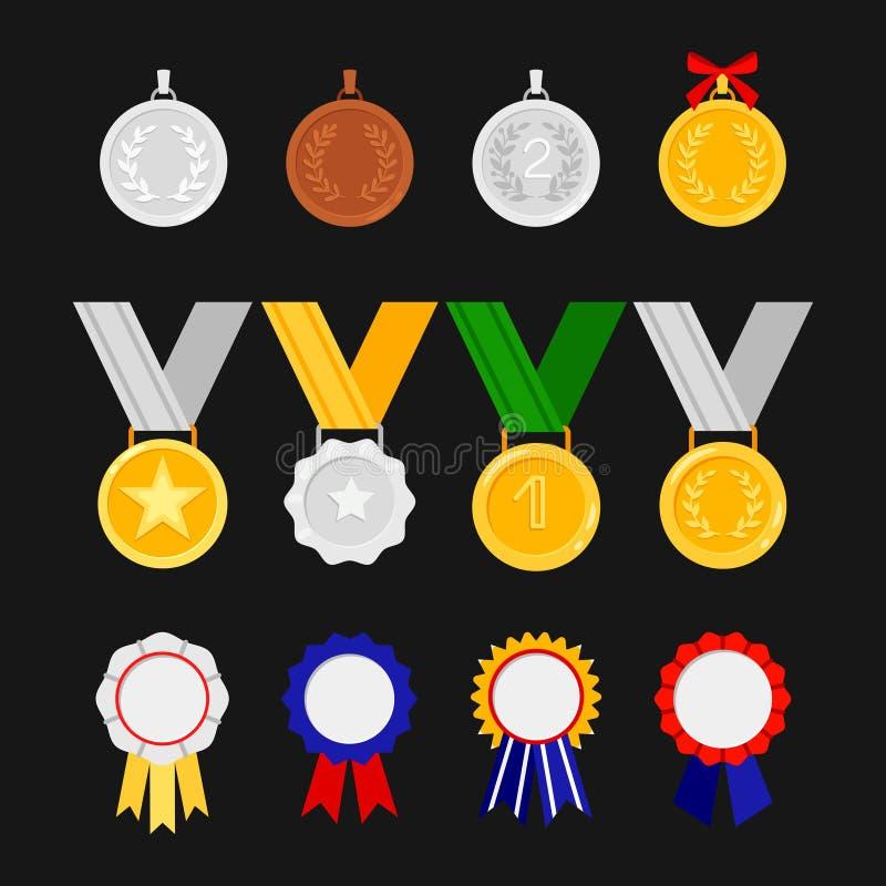 Ordens e medalhas do vetor isoladas no fundo preto ?cones das concess?es ajustados ilustração do vetor
