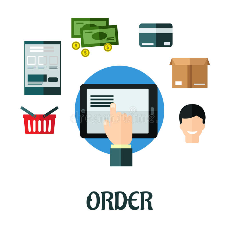 Free Order And Shop Online Flat Concept Royalty Free Stock Photography - 46358957