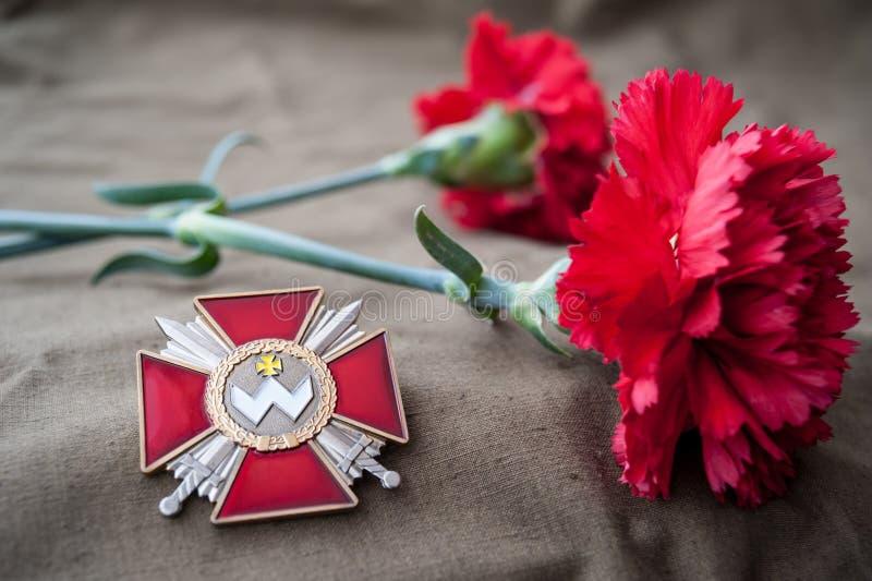 Order of Bogdan Khmelnitsky (Ukraine). Still life dedicated to Victory Day. 9 May royalty free stock images