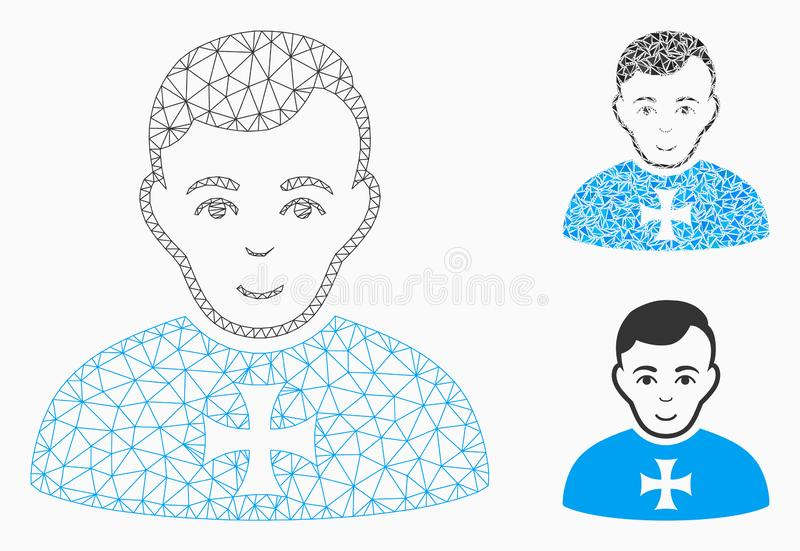 Order Chevalier Vector Mesh Carcass Model and Triangle Mosaic Icon. Mesh order chevalier model with triangle mosaic icon. Wire carcass triangular mesh of order vector illustration