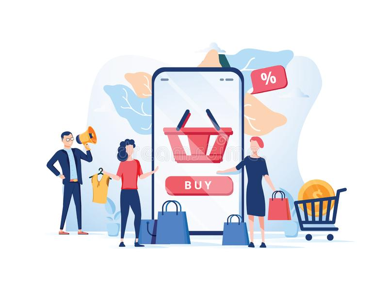 Order confirmation, Online internet shopping sale buy purchase p. Rocess, online payment, customer service and delivery, mobile shopping, payment. App store royalty free illustration