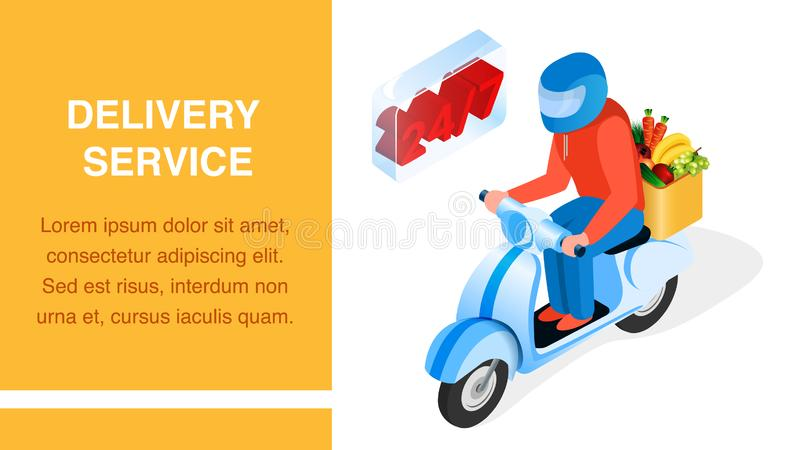 Order Delivery Service Isometric Banner Layout. 3d Man, Driver on Scooter Cartoon Character. 24h Products Transportation Typography with Text Space. Grocery stock illustration