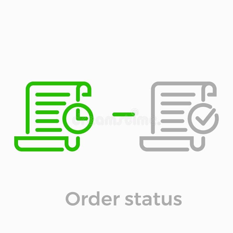 Order delivery vector logistics web shop line icon. Order delivery and logistics line icon for online shop web design. Vector symbol of order received status or vector illustration