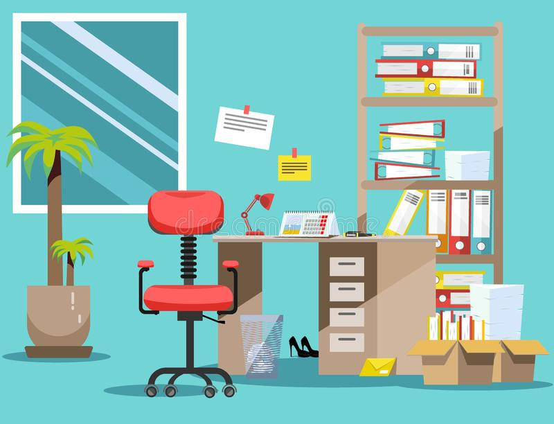Order on the desktop. Pile of paper documents and file folders in cardboard boxes on the shelves. Flat vector illustration windows royalty free illustration
